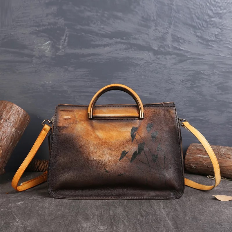 Women Handmade real leather bag high quality Women designer tote bag two color cow leather handbags for Fashion Female fashion soft face solid color genuine leather designer handbags high quality wing design two color brown women tote bag