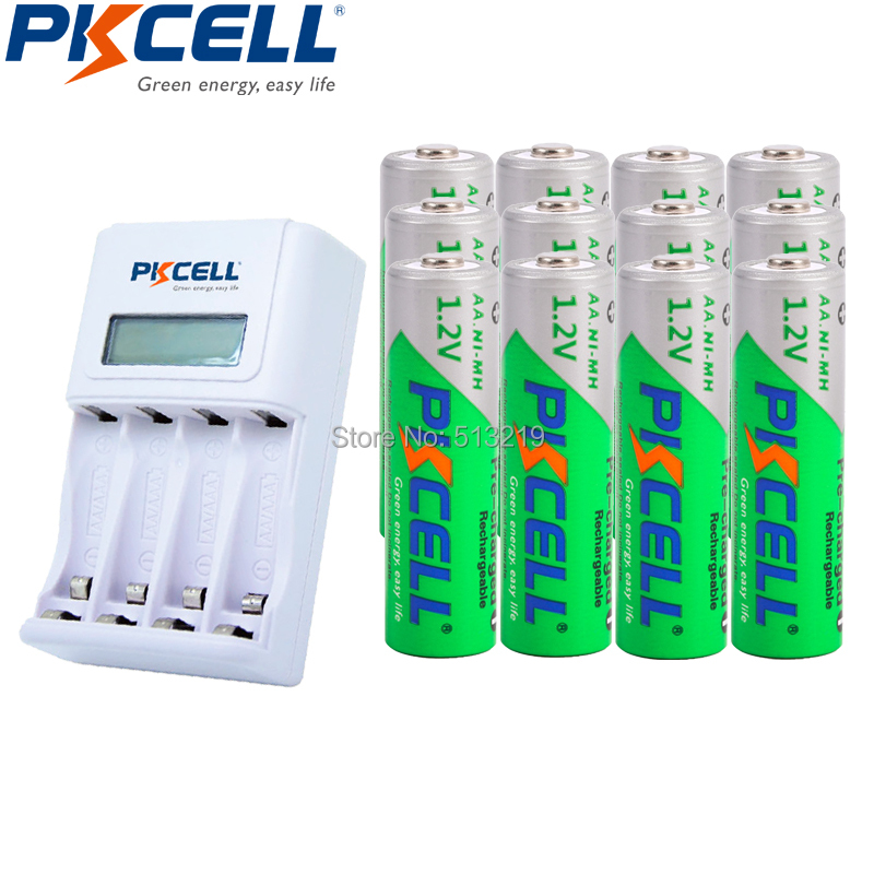12xNIMH 1.2V 2200MAH Low Self Discharge AA Rechargeable Batteries LSD and 4slot EU/US LCD Indicator Charger For AA/AAA NICD/NIMH camelion alwaysready 2300mah low self discharge ni mh aa rechargeable batteries 4 pcs