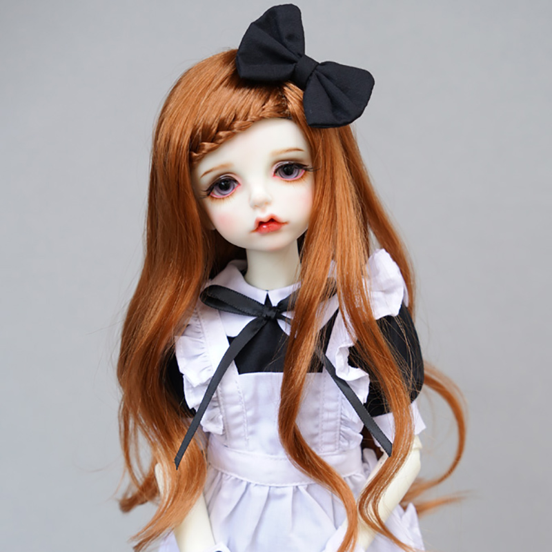 все цены на LIMPOPO BJD wig 1/3 1/4 doll hair Imitation mohair slightly curly brown braid long hair онлайн