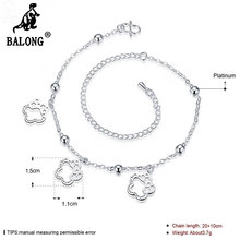 Flower Pendant Silver Plated Foot Bracelet Fashion Girls Ankle Bracelet Jewelry Simple Anklets for Women Foot Jewelry Anklets