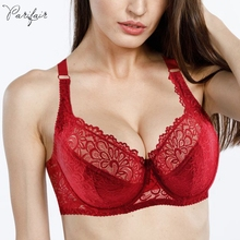 PairFairy Women's Ultra thin Bra Full Coverage Sexy Soft Underwire Lace Padded Brassiere Minimizer Bh Plus Size DD E DDD F Cup
