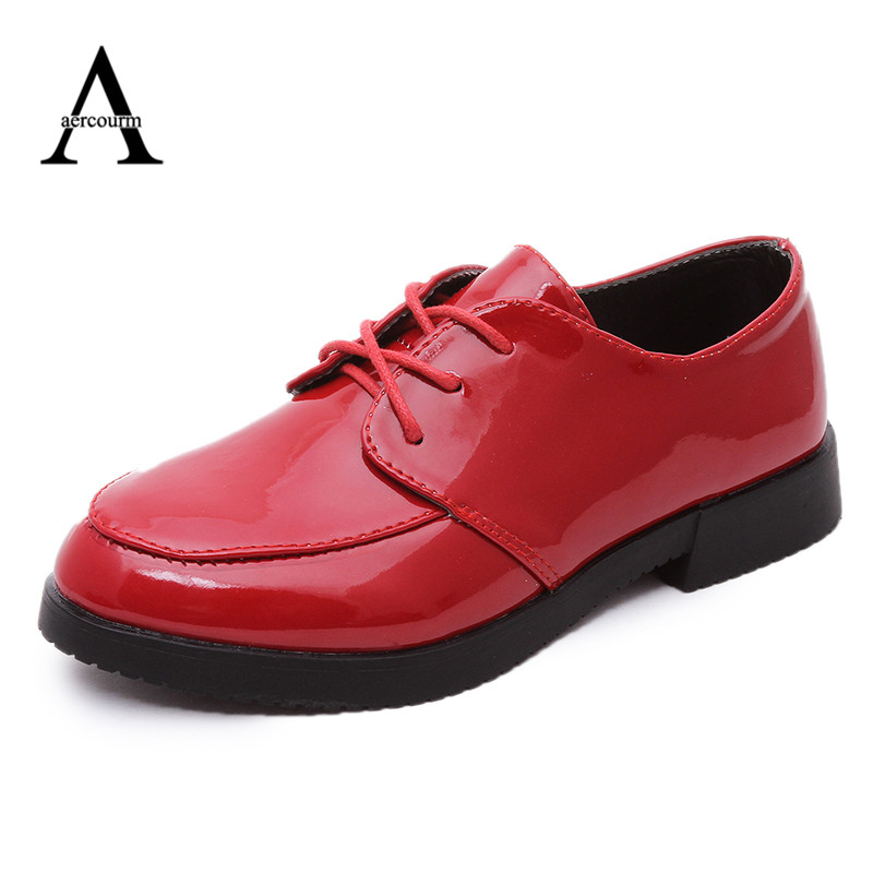 aercourm A Spring Casual Sneakers Boys Leather Shoes Black Red Color Children Fashion Girls Shoes Kids Party Leather Shoes