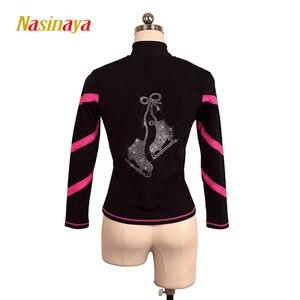 Image 1 - Dostosowane łyżwiarstwo figurowe kurtka zapinana na zamek topy dla dziewczyny kobiety konkurs treningowy Patinaje łyżwiarstwo ciepłe polary gimnastyka 3