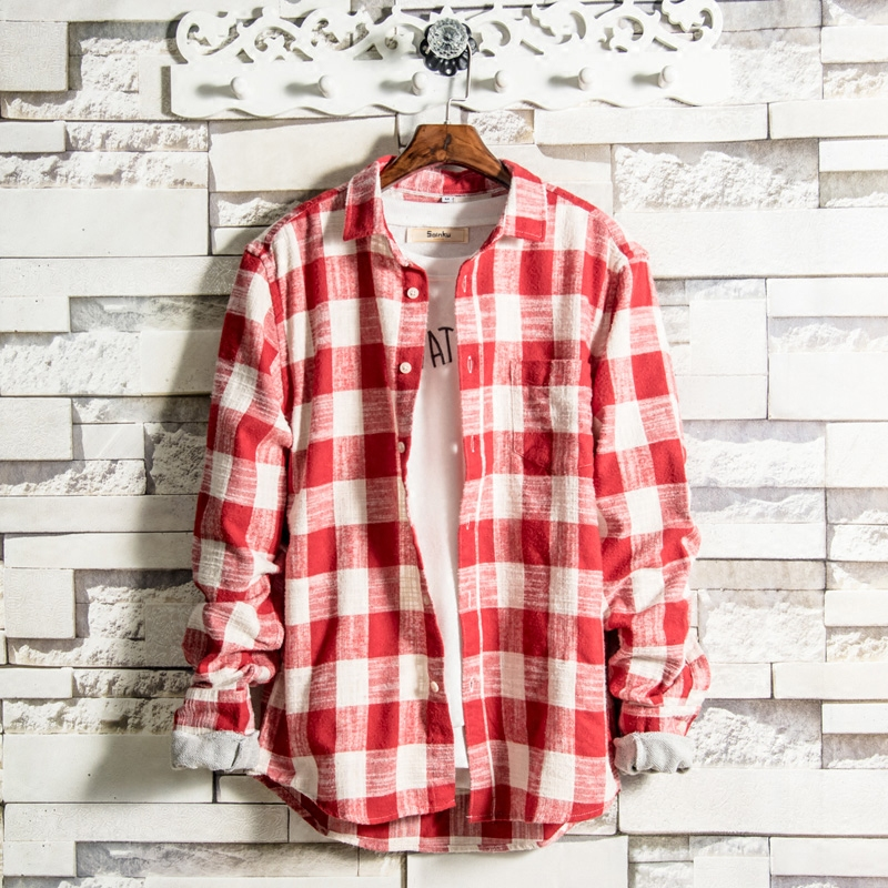 LFF 2018 New Top Men Fashion Brand Preppy Style Vintage Plaid Slim Fit Long Sleeve Shirt Male Casual Teens Student Shirt Clothes
