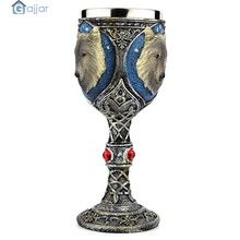 3D Skull Home Stainless Steel Wolf Goblet EZESO Resin 3D Wolf Coffee Cup Stainless Steel Vasos De Vidrio Tea Dropshiping18Nov14(China)