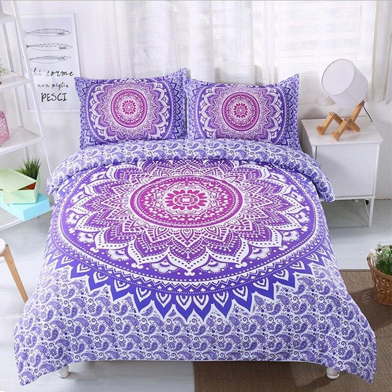 Fanaijia богемный одеялом и постельные принадлежности Boho с 3D Мандала 3 шт. наволочки Двухместный AU Размер постельное белье
