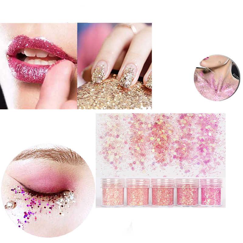 5 Kotak Rose Pink Chunky Kuku Glitter Campuran Ukuran Hexagon Bentuk Kuku Payet Paillettes Kuku Seni Glitter Berkilau Manikur Debu