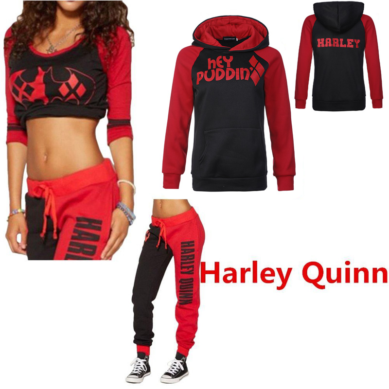 Suicide Squad Harley Quinn Costumes Hoodies Sweatshirts Top Joggers Trousers Sport Gym Pants Tracksuit Halloween Party Cosplay
