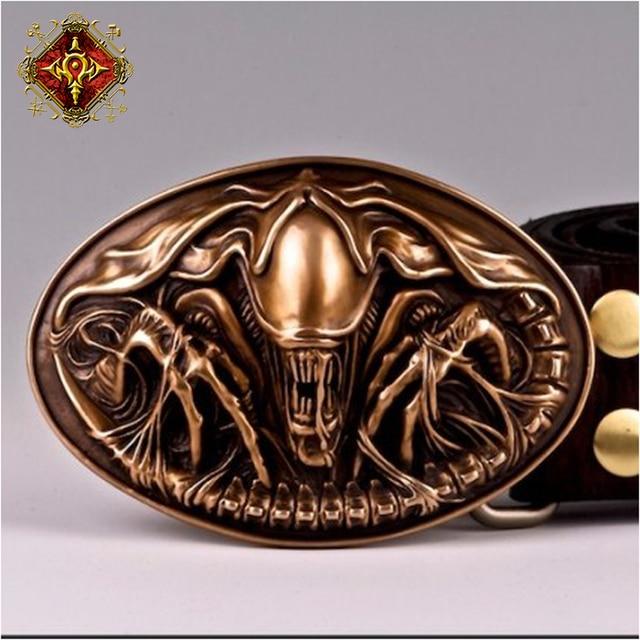 425d4c94704 OGRM Bronze Buckle Alien Queen Avp Alien Belt Buckle COOL Handmade Man Belt  Cowhide Leat Brand Designer Belts Fast Shipping