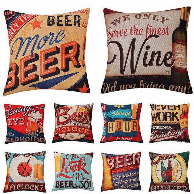 Birra Vino Stile Vintage Cuscino Copre Cotone Lino Romantico Home Decor Cuscini