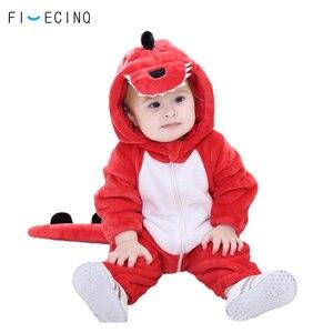 Image 2 - Costume danimal dinosaure rouge pour bébé petite fille et garçon Kigurumis, vêtements amusants et mignons, dessin animé, vêtements fantaisie chauds, tenue de carnaval pour enfants