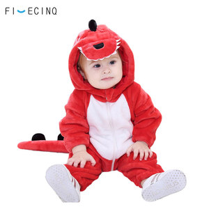 Image 2 - Red Dinosaur Animal Costume Baby little Girl Boy Kigurumis Funny Cute Child Onesie Cartoon Clothes Warm Fancy Kid Carnival Outfi
