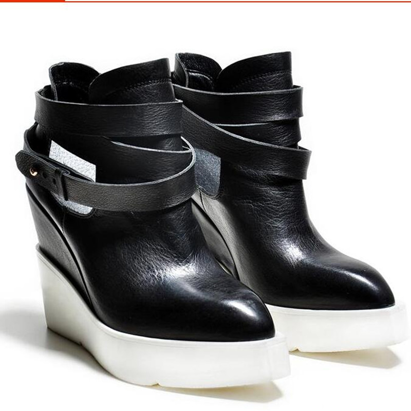 ФОТО Top quality genuine leather fashion shoes pointed toe wedges keep warm handsome buckle solid ankle boots for women