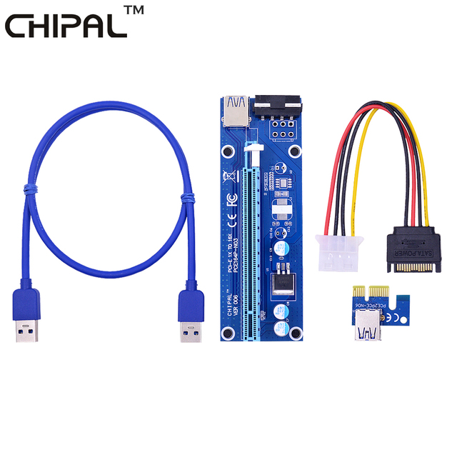 CHIPAL Blue PCE164P-NO3 VER006 0.6M PCIE PCI-E 1X to 16X Riser Card Extender + 15Pin SATA to 4Pin IDE Power Cord / USB 3.0 Cable