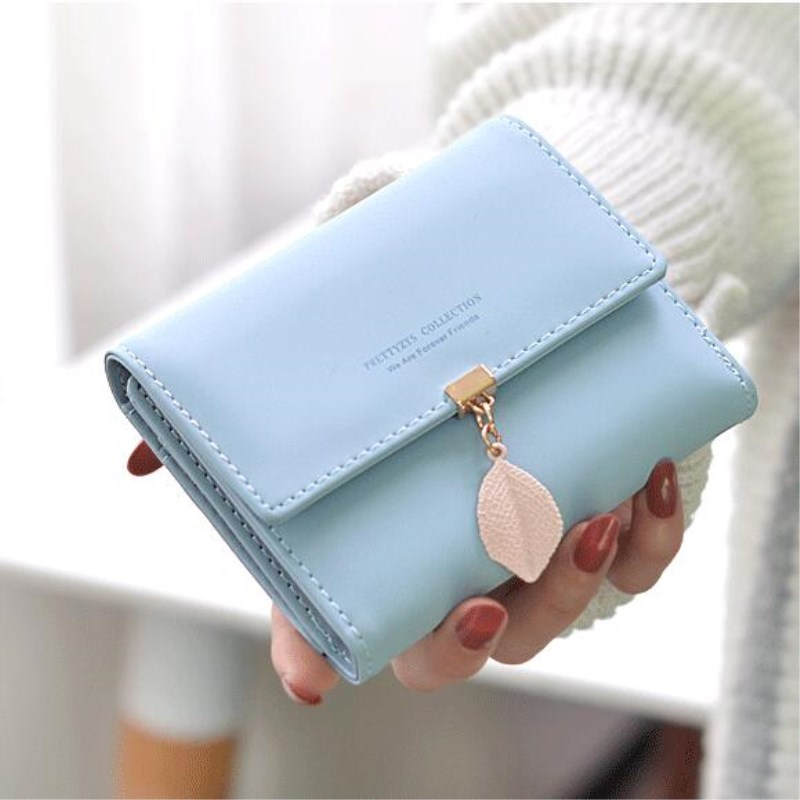 2018 New Women PU leather Leaf Short Wallet Female Coin Purse Retro Purse Money Bag Vintage Card Holders Womens Small Wallets