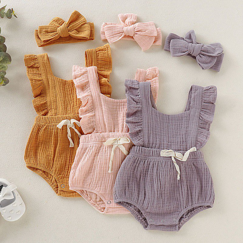 Girls Print Bow knot Design Bodysuit Jumpsuit With Headband
