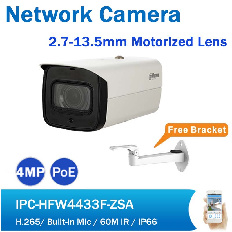 DH IPC-HFW4433F-ZSA 4MP IP Camera Motorized Varifocal Lens 60M IR Starlight PoE Network Camera built in Mic with Free Bracket