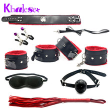 7 pcs/set Kit Fetish Sex Bondage Sex Toys for Couples, Slave Restraint Handcuffs, Nipple Clamps Ball Gag Whip Cololla Eye mask