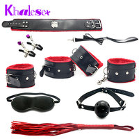 Khalesex 7 Pcs/Set Fetish Sex Bondage Adult Sex Toys for Couples Slave Restraint Woman Handcuffs Nipple Clamps Whip Eye Mask