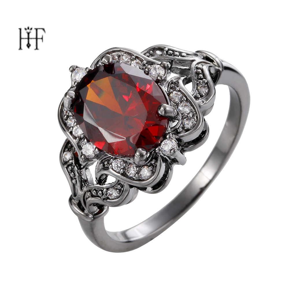 เหล้าองุ่น Gothic แหวนสำหรับผู้หญิงดอกไม้ anillos de compromiso สีแดงสีขาวหิน CZ เพทายเครื่องประดับหมั้นกัลป์ผู้หญิง