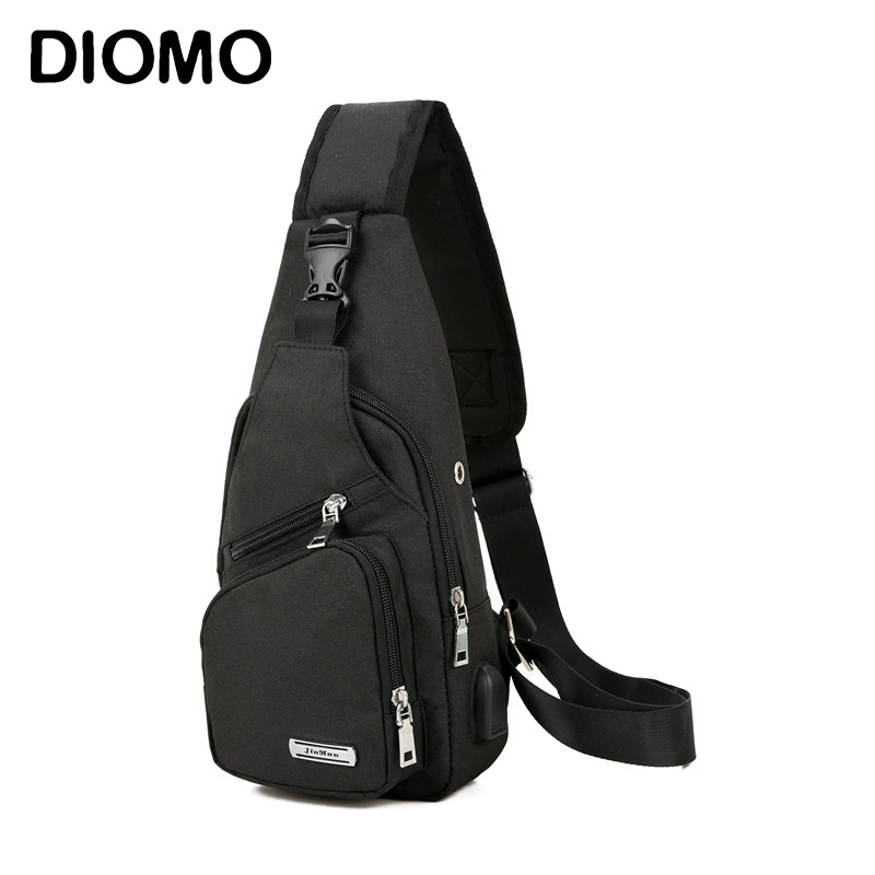 DIOMO Sling Bag for Men Chest Bag with USB Charging Port Oxford Casual Small Shoulder Crossbody Short Trip Messengers BagsDIOMO Sling Bag for Men Chest Bag with USB Charging Port Oxford Casual Small Shoulder Crossbody Short Trip Messengers Bags