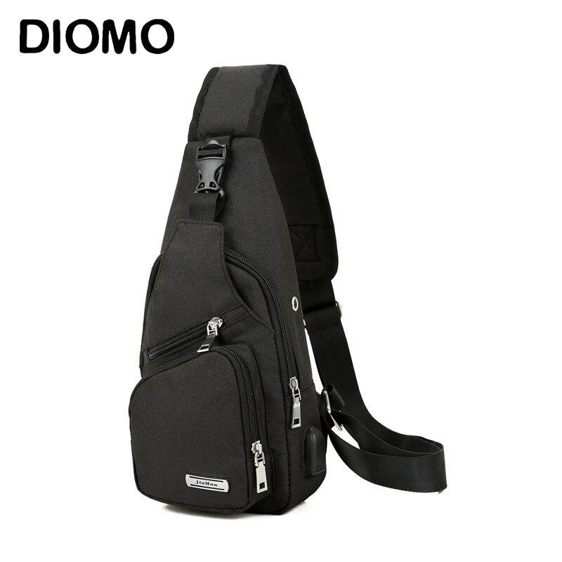 DIOMO Sling Bag para Homens Peito Saco com USB Porto De Carregamento Oxford Ocasional Pequeno Ombro Crossbody Viagem Curta Mensageiros Sacos