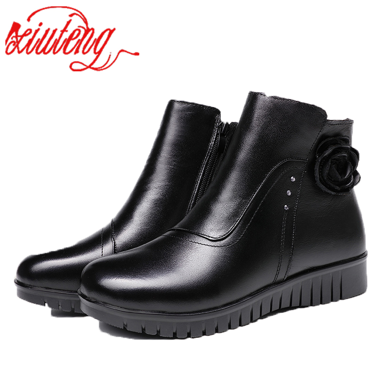Xiuteng New 2017 round toe women leather winter boots warm plush shoes woman ankle boots For mother gift