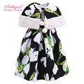 Pettigirl Цветок Девушка Одежда Устанавливает A line Dress With Меха Pom Pom Черного Мыса Осень Детская Одежда G-DMCS908-957