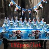 Disney Frozen Disposable Tableware Sets 152Pcs/Lot Kids Birthday Party Baby Shower Festival Celebrate Decoration Event Supplies
