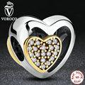 Romántica 925 Plata Esterlina Corazón Unido, Clear CZ Encantos Del Oro para Las Mujeres de La Joyería Collar Pulsera S265
