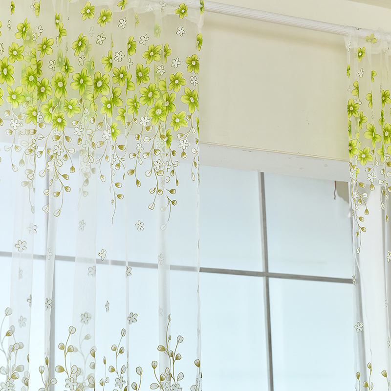 New Curtains flower Printed Voile Bay Window office Pastoral Curtains Green Pink New