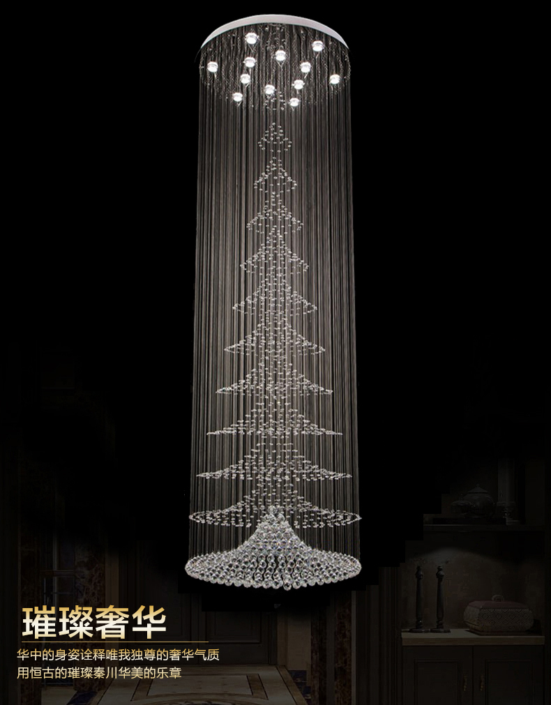 Free New Crystal Lamp Modern Large Chandeliers Staircase Light Super Market Lighting 3 Meter Long In From Lights On