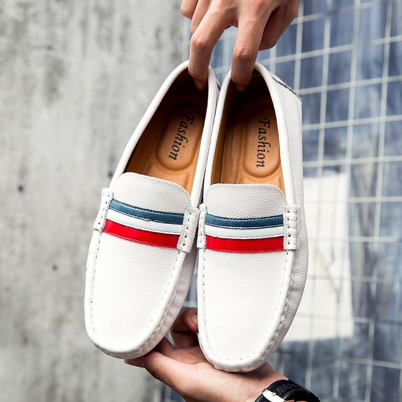 Da Motoristas Peas Blue Tendência black Coreana Verão Couro Masculinos Respirável Branco Sapatos De white Versão Simples Preguiçosos Casuais Pn0qPd