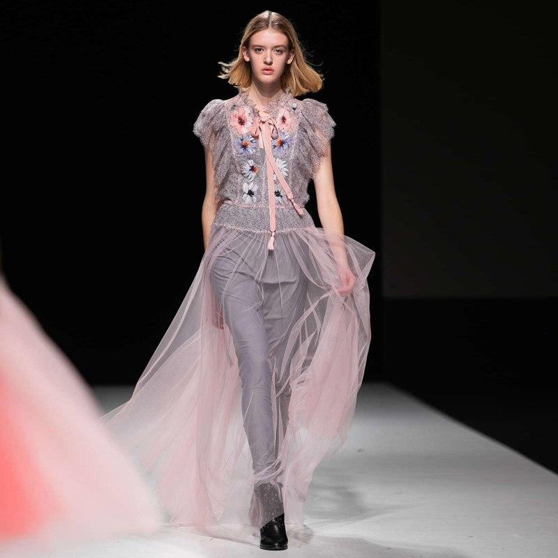 XF dentelle couture Tulle fleur broderie de haute qualité Designer rétro robe d'été nouvelles femmes Sexy à volants décontracté robes de soirée