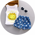 New 1 2 3 years old baby boys suit infant cotton material o-neck with lion printed fashion boys clothes vest suit A077