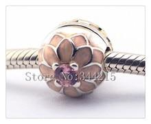 Se adapta a Pandora Pulseras Blooming Dahlia Clip de Perlas de Plata con Rosa CZ 100% Plata de Ley 925 Encantos de La Joyería DIY