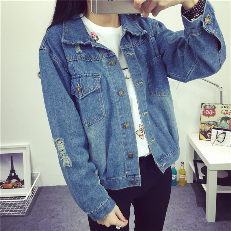 Jeans Jackets Coat Outwear Windbreaker Basic Vintage Slim Winter Casual Lapel