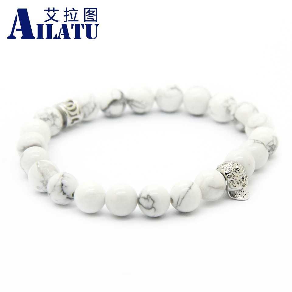 Ailatu Mens Sieraden 8Mm Natuurlijke Witte Howliet Sediment Stone Kralen Met Messing Schedel Armband