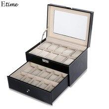 FANALA Caixas de organizador de Jóias 20 Grade Slots Relógios Exibir caixa de Armazenamento Caixa de Couro caixa de jóias Quadrado