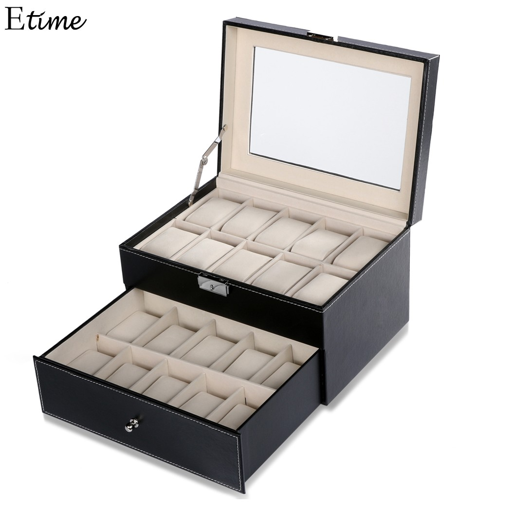 FANALA 20 Grid Slots Watch Box Jewelry Organizer High Quality Double Layers Leather PU Display Box With Key Square Boite Montre