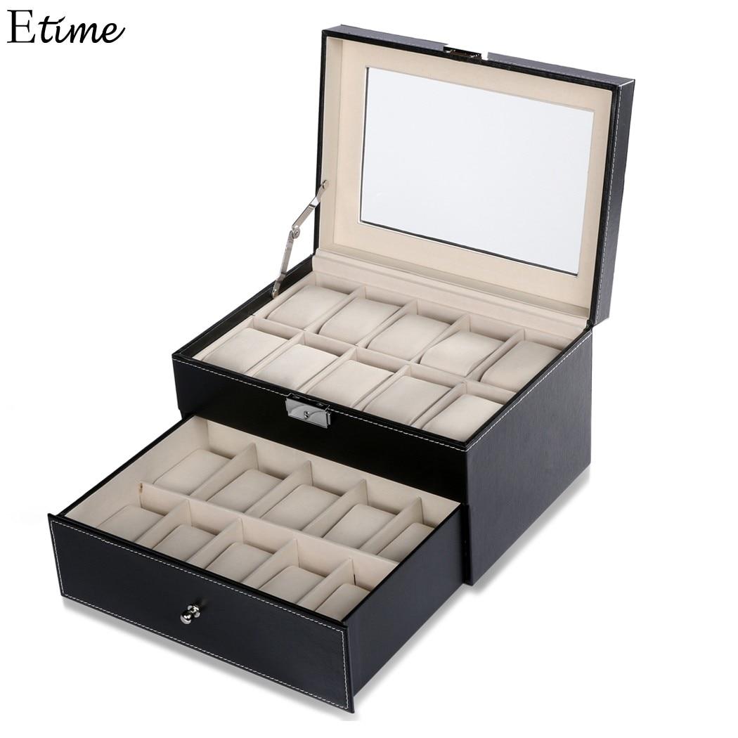 FANALA 20 Grid Slots Watch Box Jewelry Organizer High Quality Double Layers Leather PU Display Box With Key Square Boite Montre