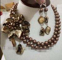 Ddh001142 Women Brown Flower Choker Bib Statement Necklace Collar Party Gift Earrings Set