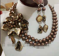 Ddh001142 Women Brown Flower Choker Bib Statement Necklace Collar Party Gift Earrings Set