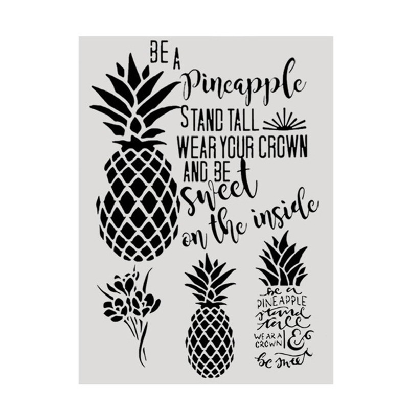 A4 Size DIY Painting Pineapple Stencils Template For Wall Fabric Wood Furniture Painting  Decor Embossing Paper Cards