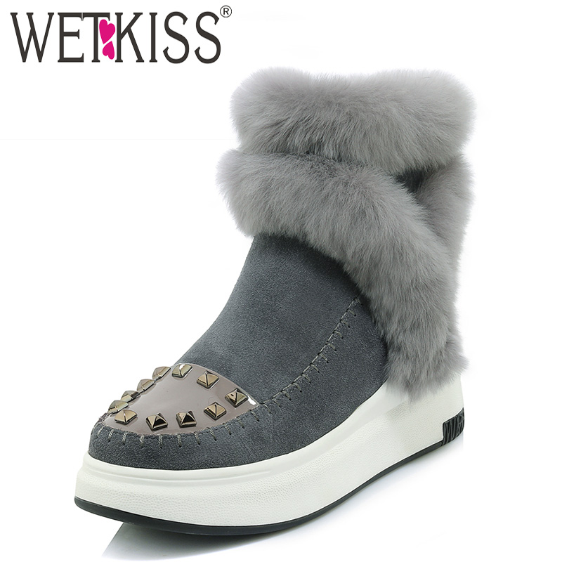 WETKISS Fur Women Ankle Snow Boots Zip Round Toe Footwear Warm Rivet Female Boot Casual Cow Suede Platform Girl Shoes Woman 2018 uexia winter cow suede tassels loafers fur inside warm gommini women shoes soft flats female shoes womens footwear round toe