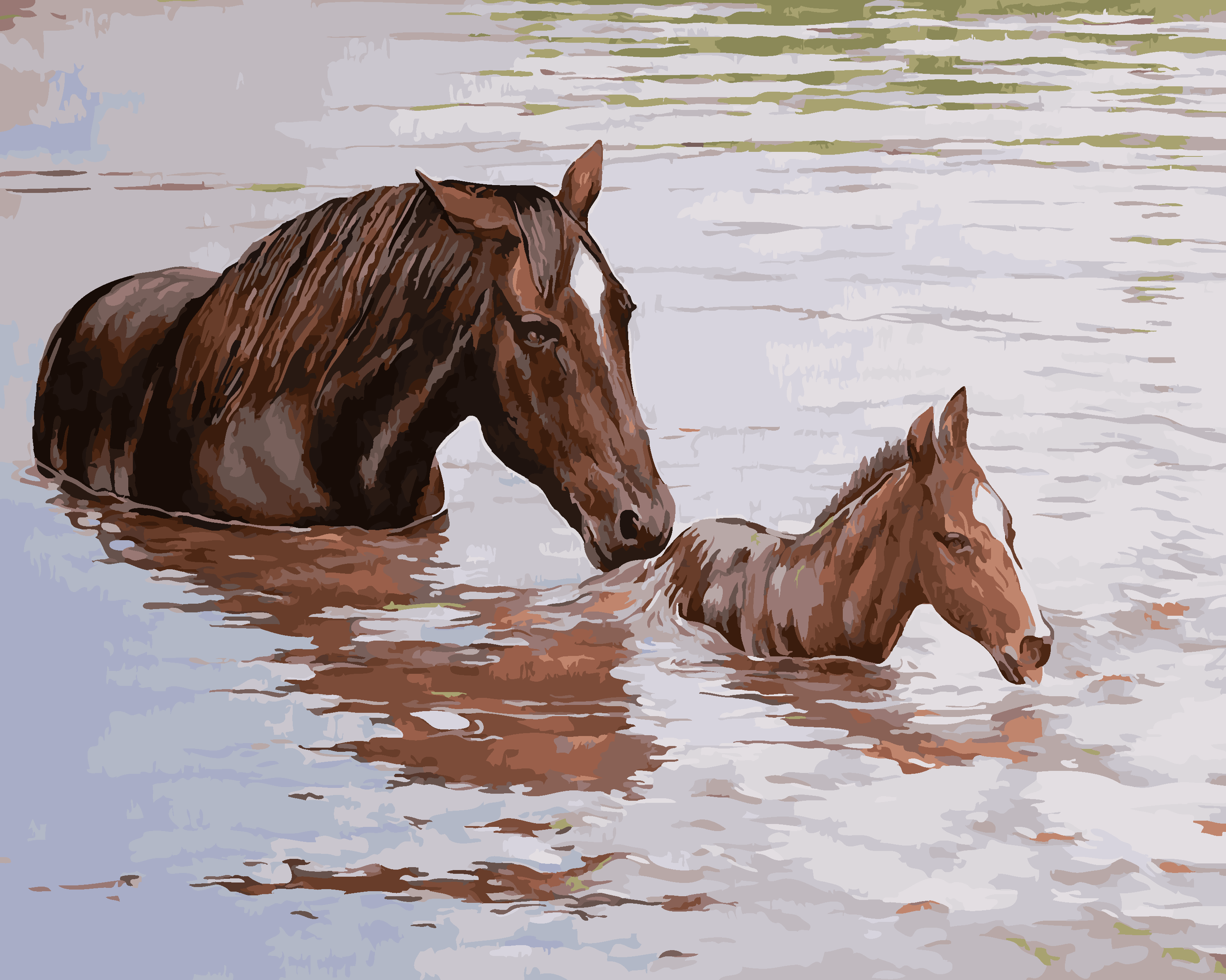 New NEW Oil Painting Horses crossing the river DIY Home Decor landscape Crafts Framed By Numbers Picture Canvas Painting