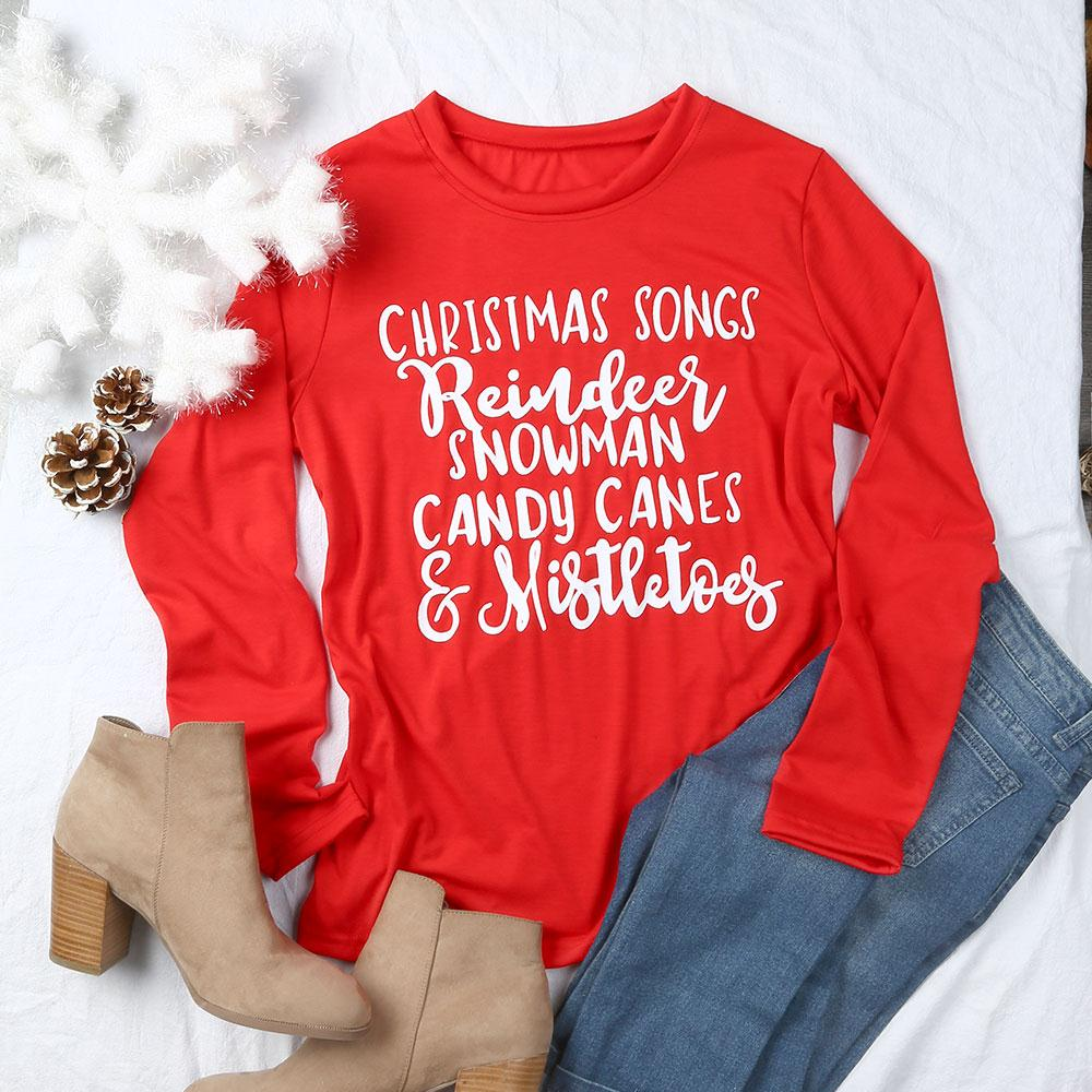 VIN Beauty Fashion 2018 Christmas Songs Reindeer Snowman O-Neck Red T Shirt Women Casual Letter Print Long Sleeve Lady Tops Tee