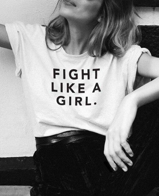 Kampf Wie Ein Mädchen Grafik T Shirt Unisex Hohe Qualität Baumwolle