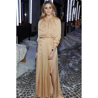 2018 High Quality Runway Designer Luxury Brand Long Sleeve Sashes Champagne Slit Dress Noble Party Woman Long Dress 100 Silk