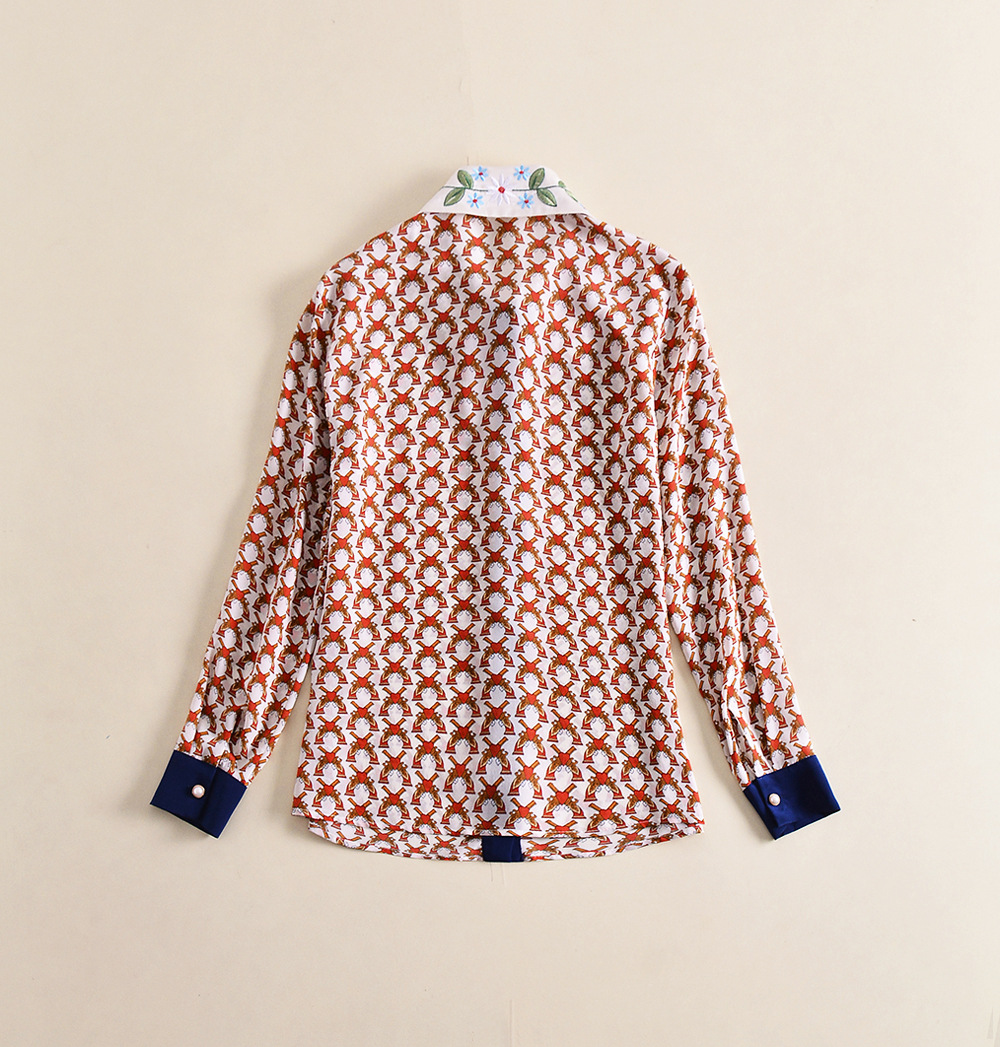European and American new silk print shirt for spring and 2018 women's wear embroidered shirt - 4